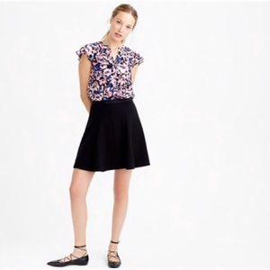 J Crew black fluted mini skirt size 2
